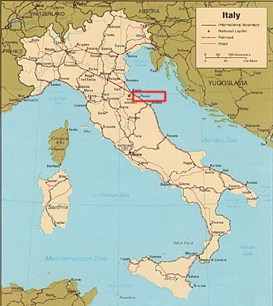 Italy map - city of Pesaro